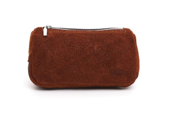 LEATHER 2 PIPE AND TOBACCO BAG SUEDE BURNT