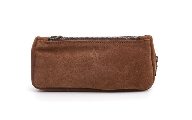 SUEDE PIPE AND TOBACCO BAG BROWN