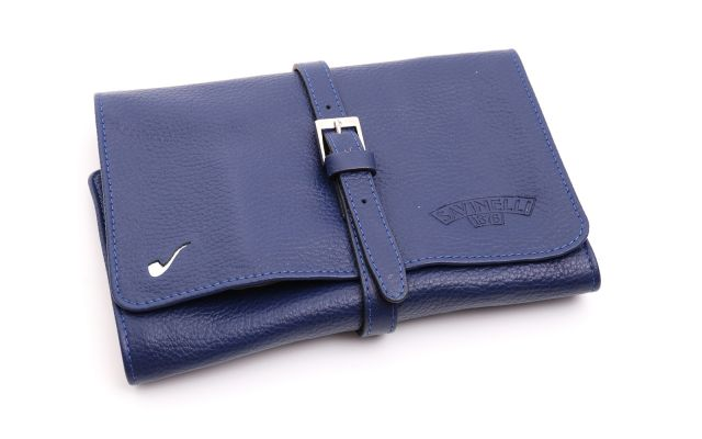 LEATHER PIPE TRAVEL BAG BRIGHT BLUE