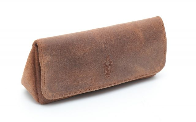 SUEDE PIPE AND TOBACCO BAG - COGNAC