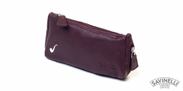 ELITE LEATHER POUCH 1 PIPE AND TOBACCO BURGUNDY