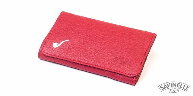LEATHER ROLL-UP PIPE TOBACCO POUCH RED
