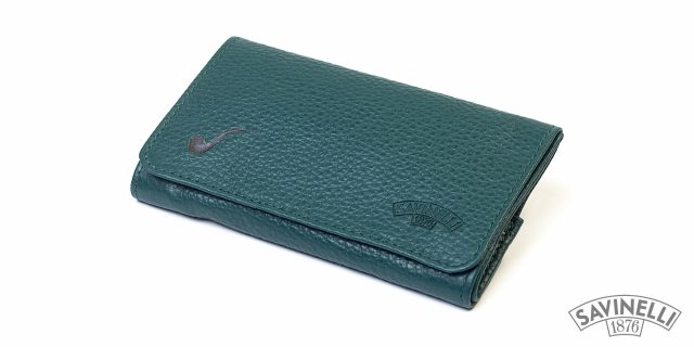 LEATHER ROLL-UP PIPE TOBACCO POUCH GREEN