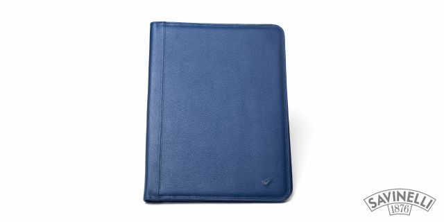 LEATHER NOTEPAD HOLDER BLUE