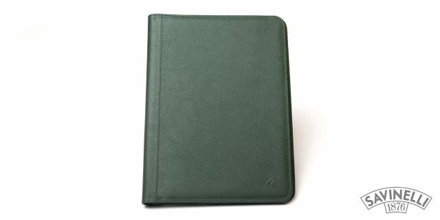 LEATHER NOTEPAD HOLDER GREEN