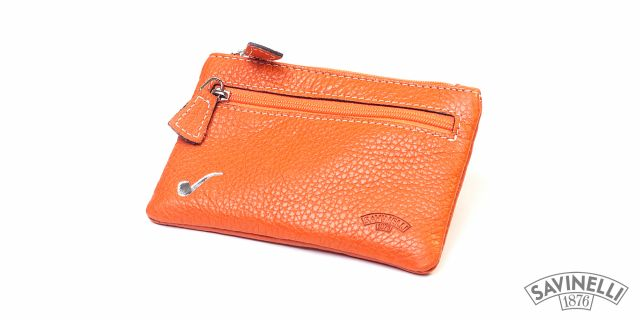 LEATHER ROLLING TOBACCO POUCH ORANGE