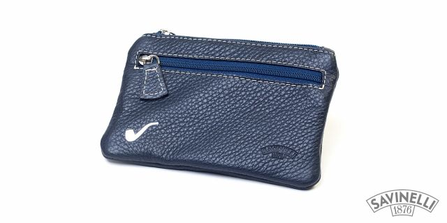 LEATHER ROLLING TOBACCO POUCH BLUE