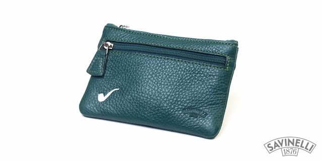 LEATHER ROLLING TOBACCO POUCH GREEN