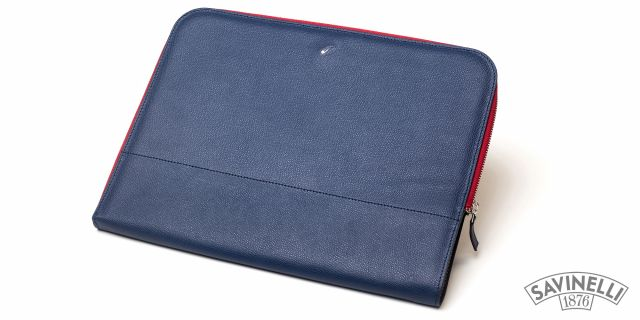 ZIPPED DOCUMENT FOLDER BLUE