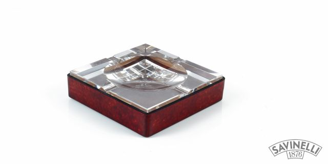 CRYSTAL/LEATHER ASHTRAY SQUARED BORDEAUX