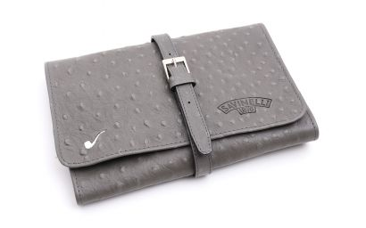 LEATHER PIPE TRAVEL BAG GREY