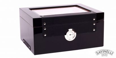 BLACK GLASSTOP HUMIDOR
