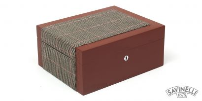 CIGAR HUMIDOR FABRIC COVERED BROWN