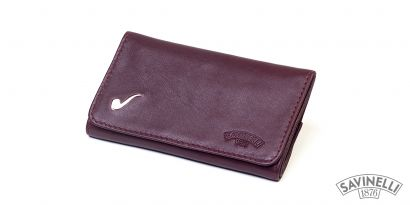 ELITE LEATHER ROLL-UP PIPE TOBACCO POUCH BURGUNDY
