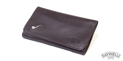 ELITE LEATHER ROLL-UP PIPE TOBACCO POUCH BROWN