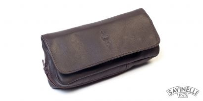 LEATHER COMBO POUCH 1 PIPE AND TOBACCO BROWN