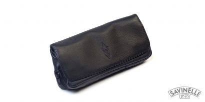 LEATHER COMBO POUCH 1 PIPE AND TOBACCO BLACK