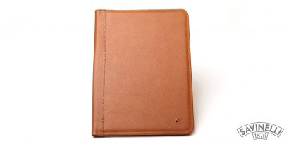 LEATHER NOTEPAD HOLDER LIGHT BROWN