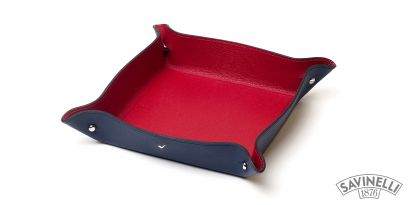 LEATHER VALET DISH BLUE