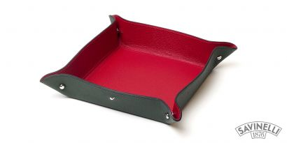 LEATHER VALET DISH GREEN