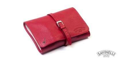LEATHER PIPE TRAVEL BAG RED