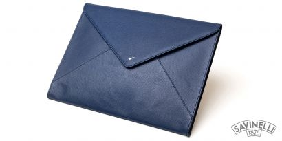 LEATHER DOCUMENT FOLDER BLUE