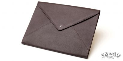 LEATHER DOCUMENT FOLDER BROWN