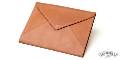 LEATHER DOCUMENT FOLDER LIGHT BROWN