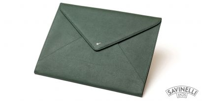LEATHER DOCUMENT FOLDER GREEN