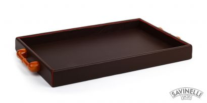 LARGE LEATHER TRAY BROWN