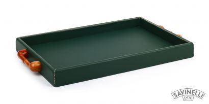 LARGE LEATHER TRAY GREEN