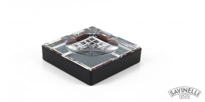 CRYSTAL/LEATHER ASHTRAY SQUARED BLACK